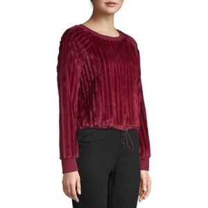 Maroon Ribbed Velour Top